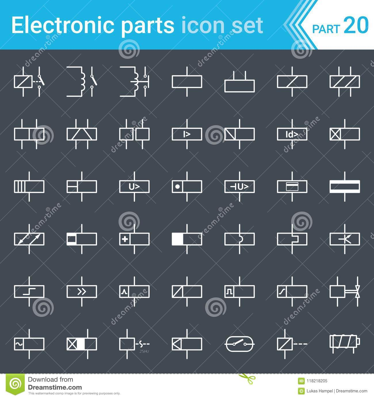 electric and electronic icons, electric diagram symbols  relays and  electromagnets