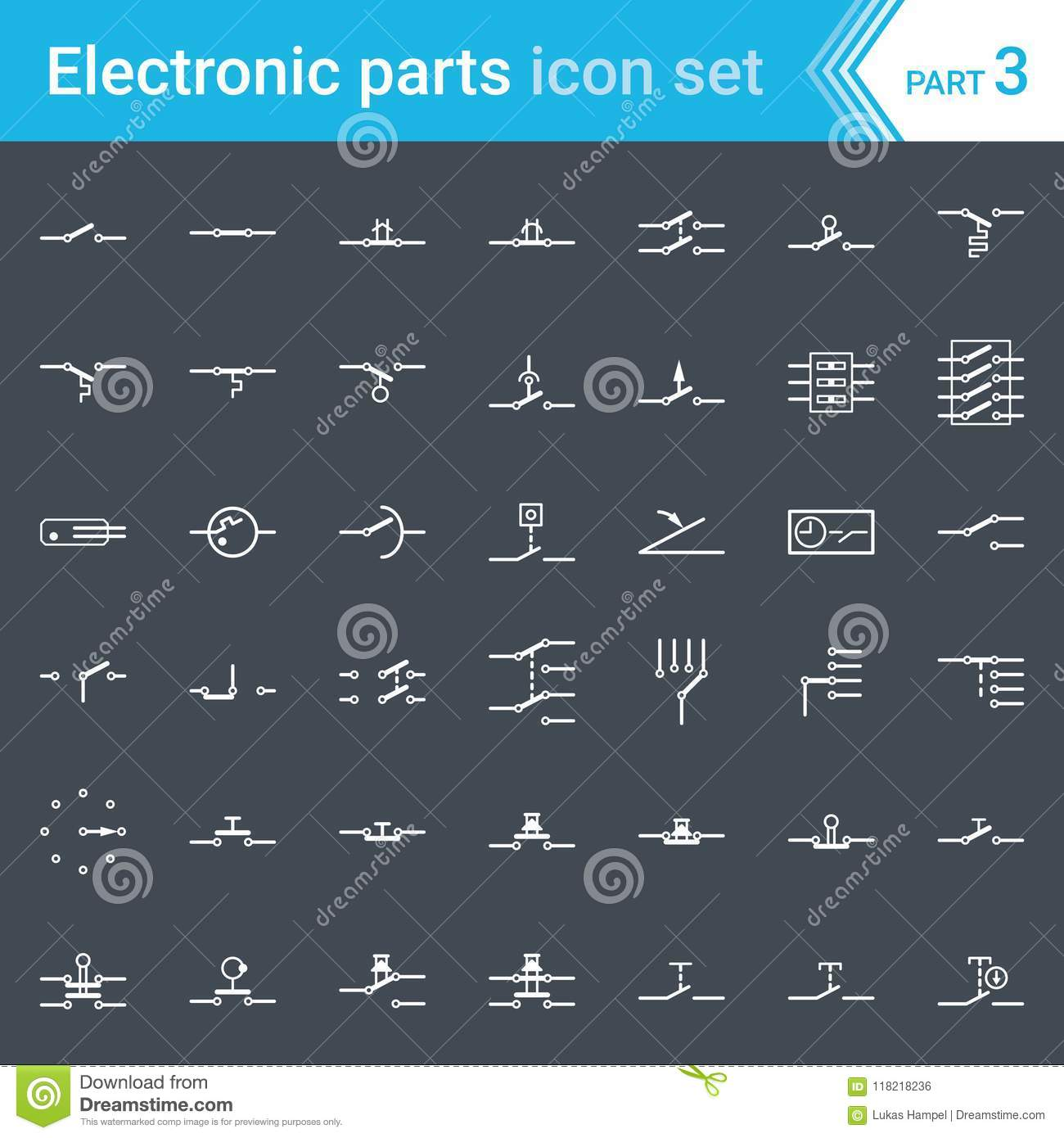 Electric And Electronic Icons Electric Diagram Symbols Switches