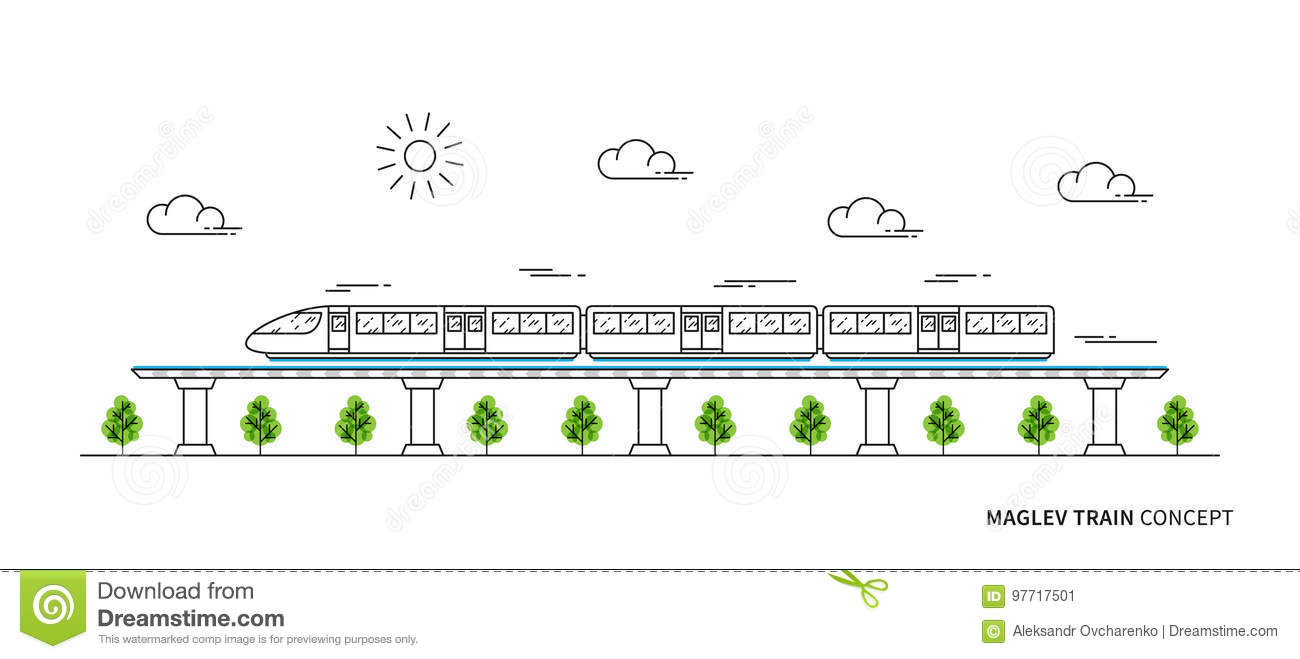 Electric Fast Train Line Art Concept Stock Vector - Illustration of