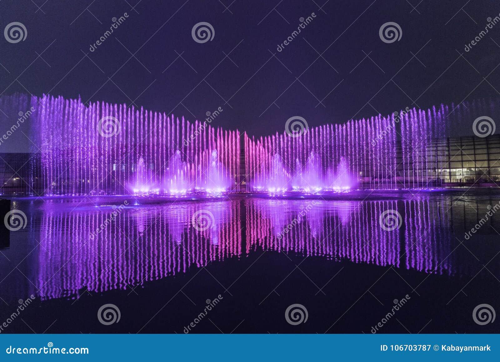 Electric fountain musical, okada, manila, night, illuminated