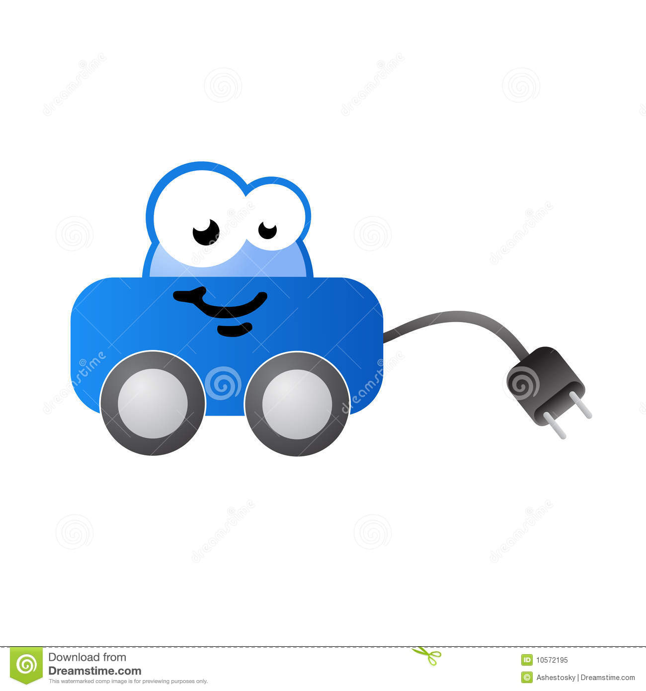 Electric fueled car cartoon character