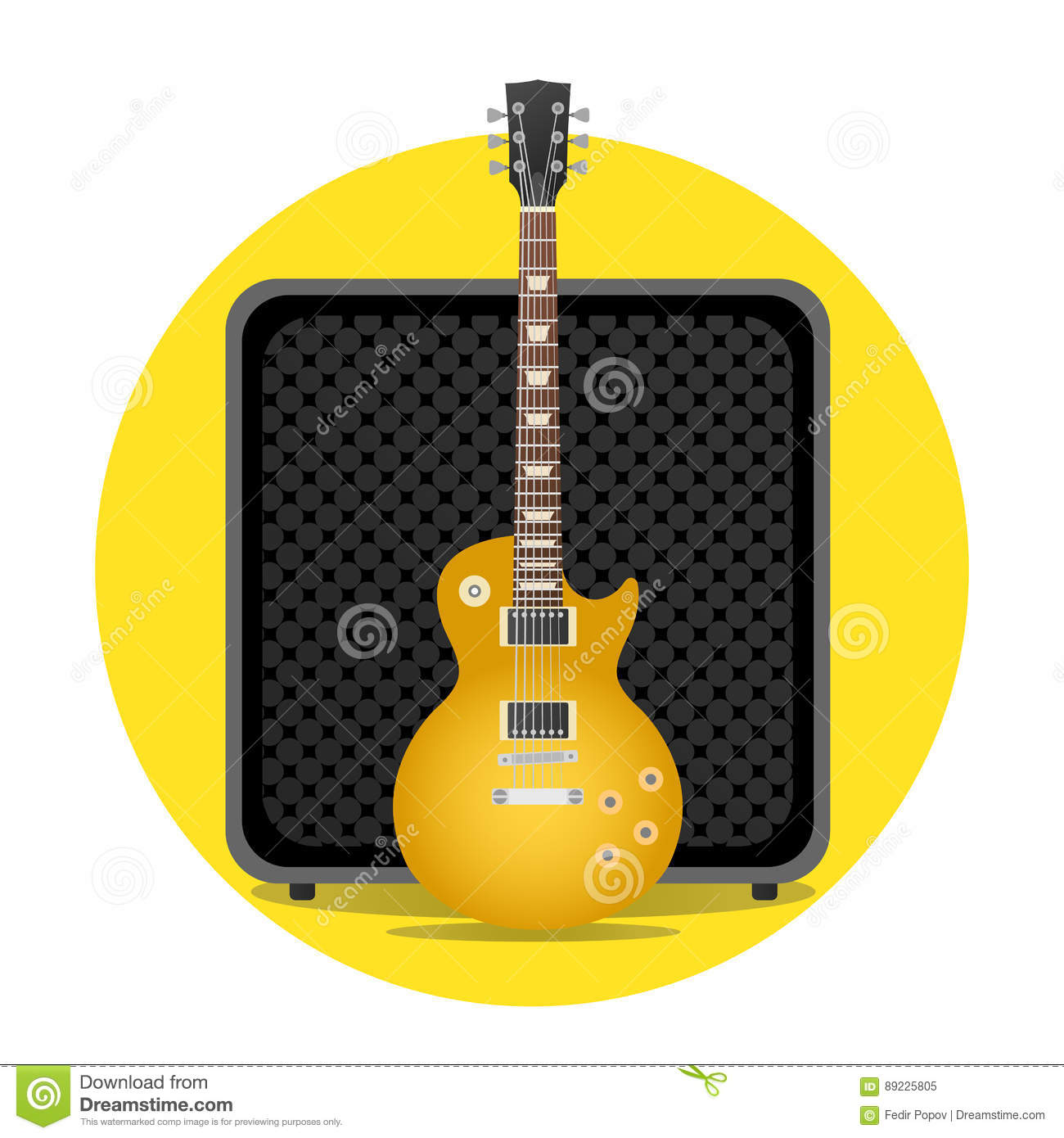 electric guitar with amp stock vector image of hole 89225805. Black Bedroom Furniture Sets. Home Design Ideas