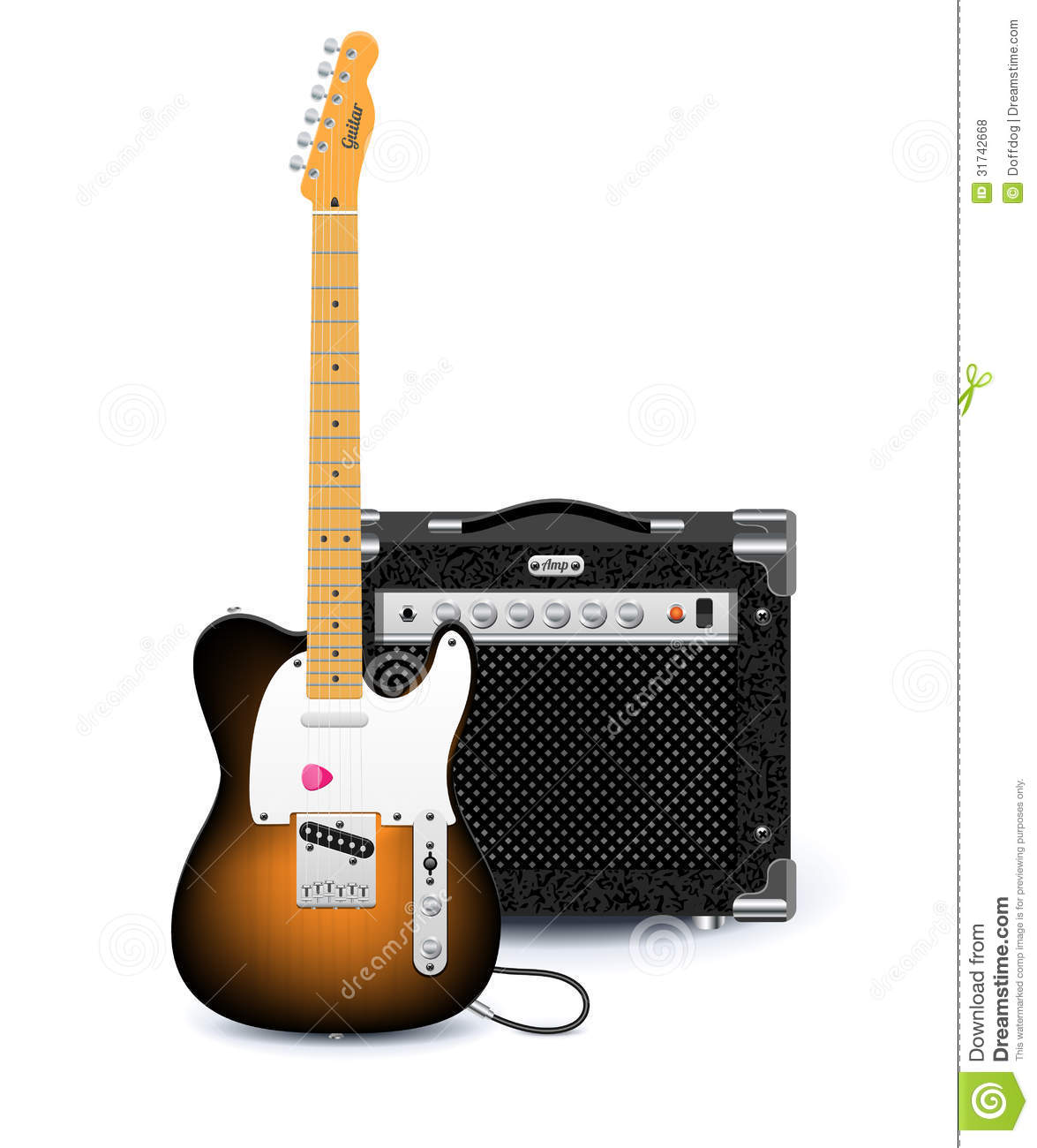 electric guitar and amplifier stock vector illustration of audio combo 31742668. Black Bedroom Furniture Sets. Home Design Ideas