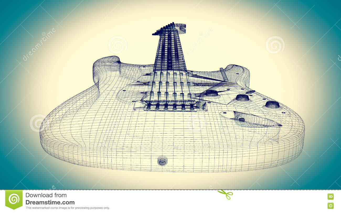 Electric Guitar On Background Stock Illustration Of How To Wire An 3d Model Body Structure