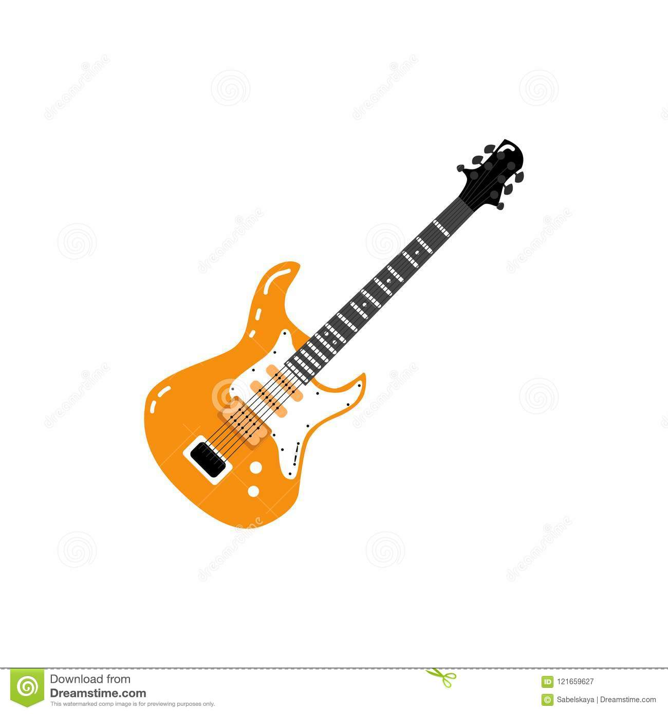 Vector Flat Black Electric Guitar Icon Isolated Stock Jack Cable Wiring With Audio Wire Hand Drawn Rock Music Attribute String Instrument Illustration On A White