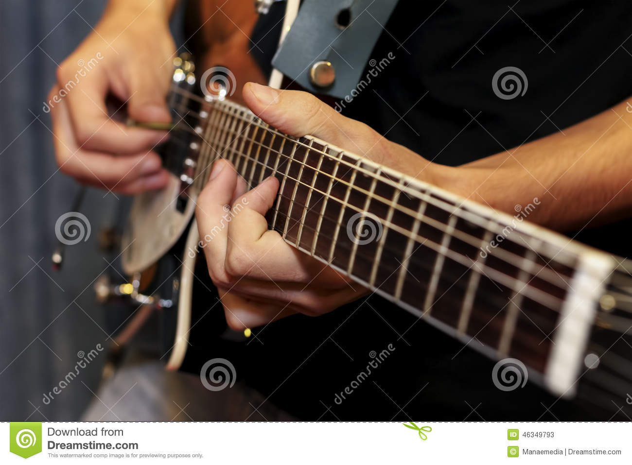 Electric Guitar Close Up With Fingers Playing It Stock Image Image