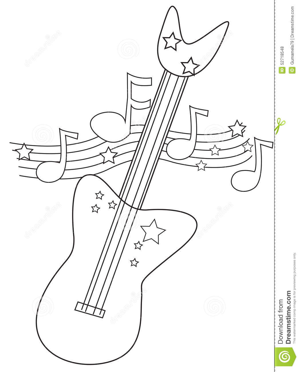 electric guitar coloring page stock illustration