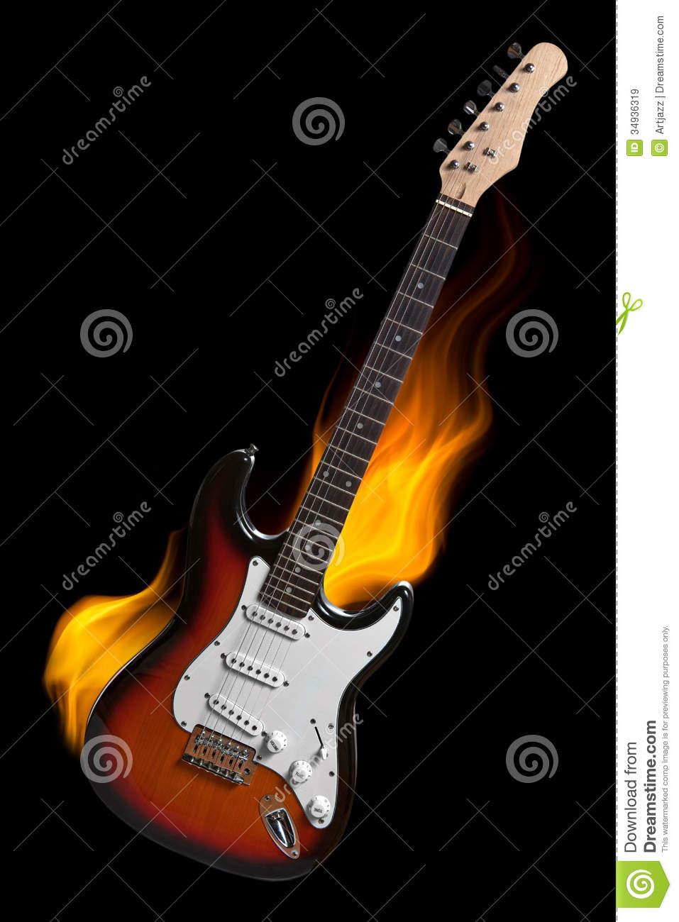 Black Electric Guitar With Flames Electric guitar on fire