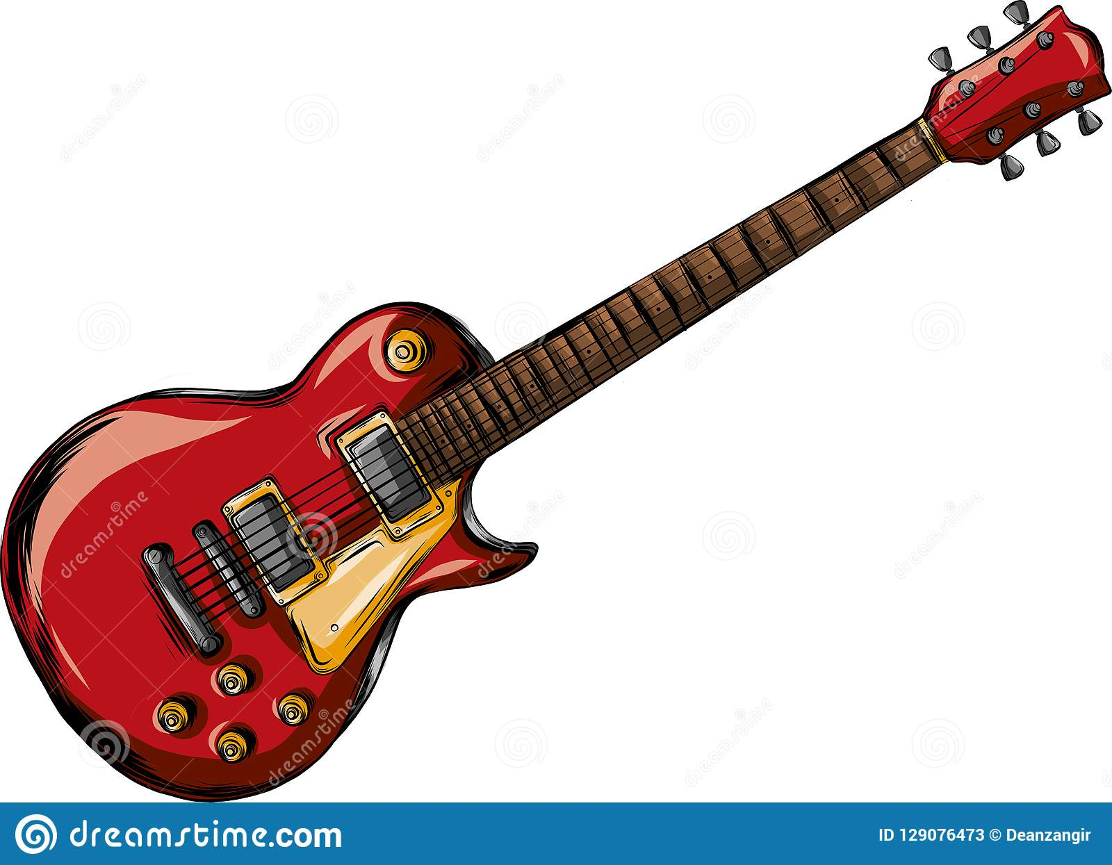 Electric guitar flat vector illustration. Rock music instrument