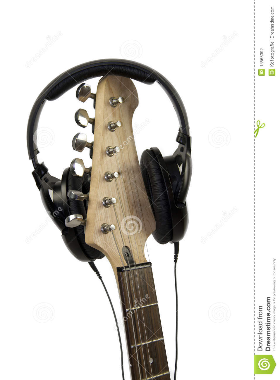 electric guitar with headphones stock photo image of stereo strings 18566392. Black Bedroom Furniture Sets. Home Design Ideas