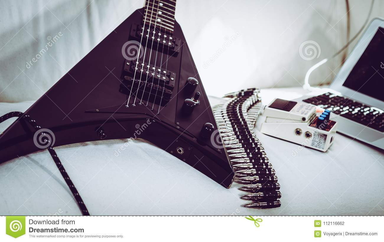 electric guitar and laptop stock photo image of electric 112116662. Black Bedroom Furniture Sets. Home Design Ideas