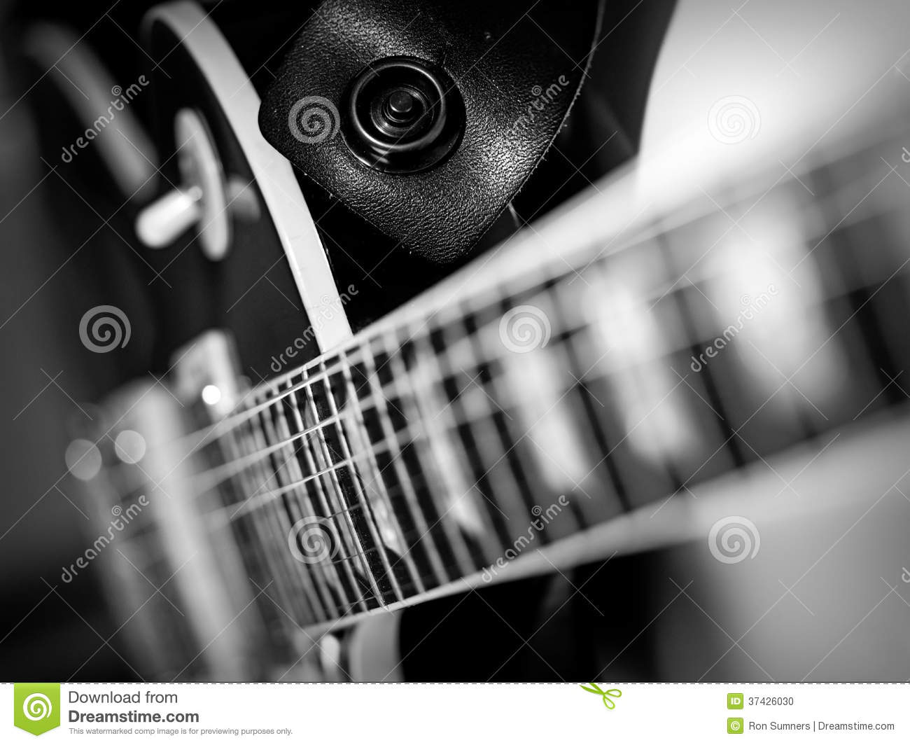 Electric guitar macro abstract black and white