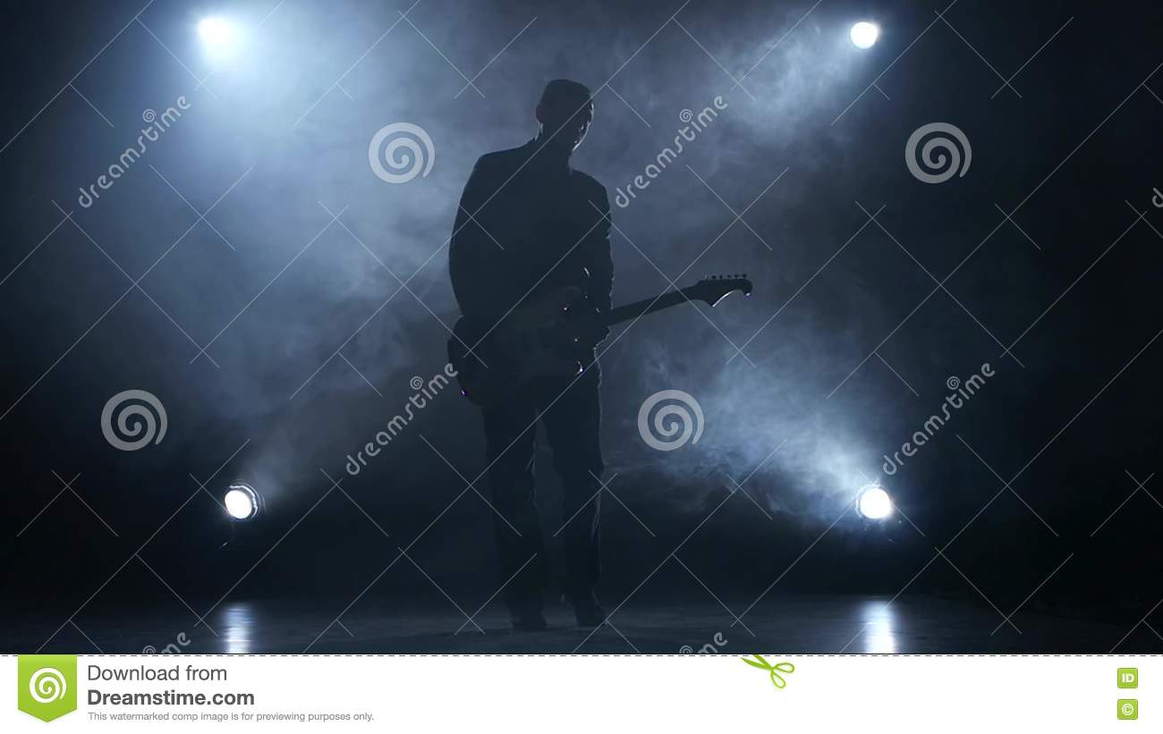 Electric Guitar The Man Plays For Fun Smoke Slow Motion Stock