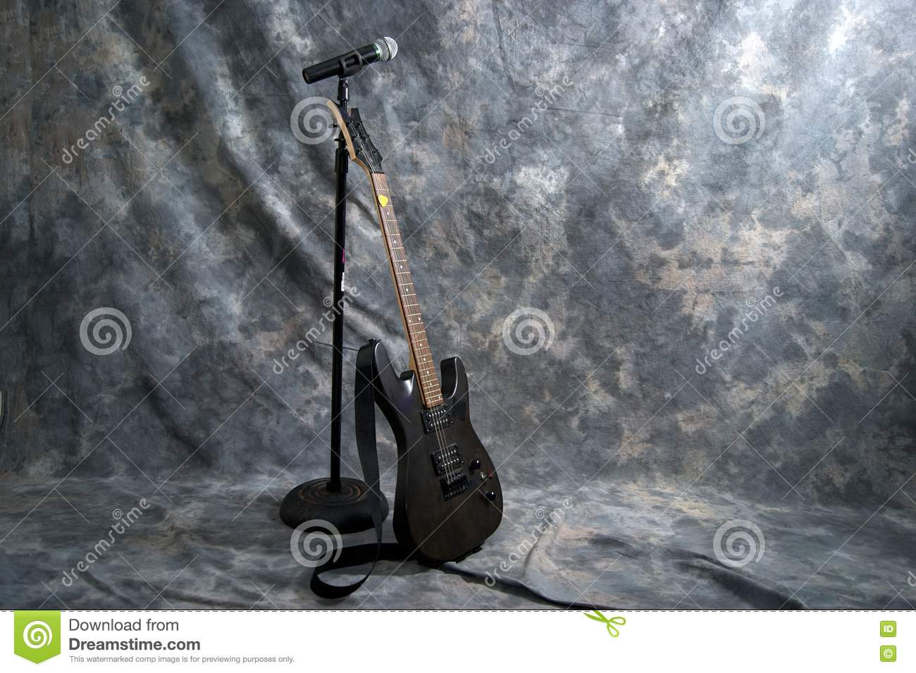 electric guitar and microphone stock images image 20224804. Black Bedroom Furniture Sets. Home Design Ideas