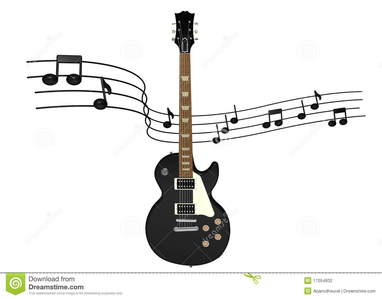 Electric Guitar With Music Notes Stock Illustration Illustration