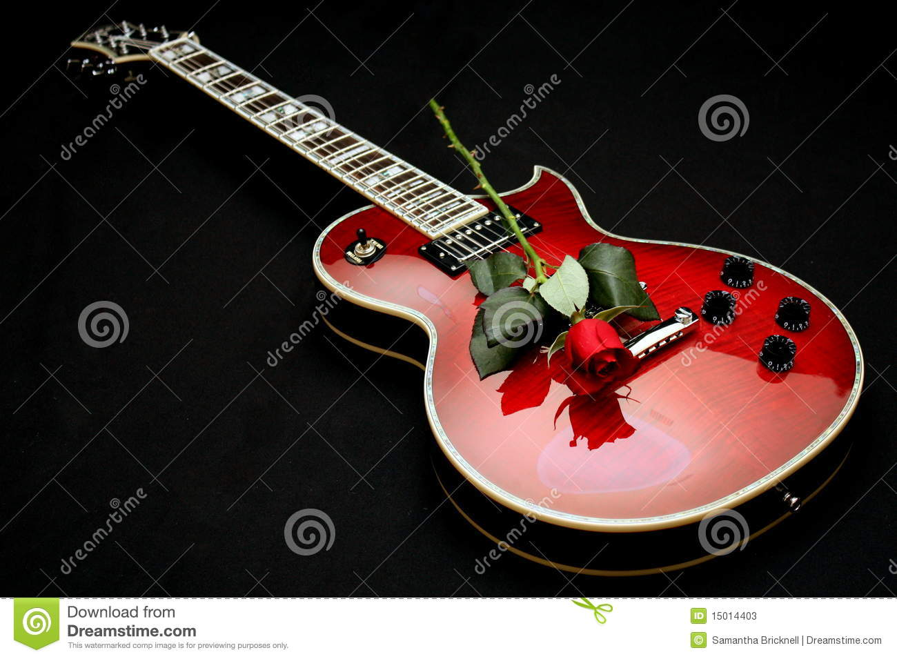 Electric Guitar With Rose Stock Image Image Of Knobs