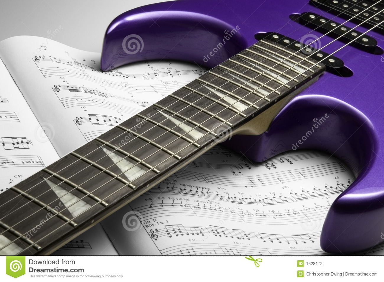 electric guitar on sheet music stock photo image of notes melody 1628172. Black Bedroom Furniture Sets. Home Design Ideas