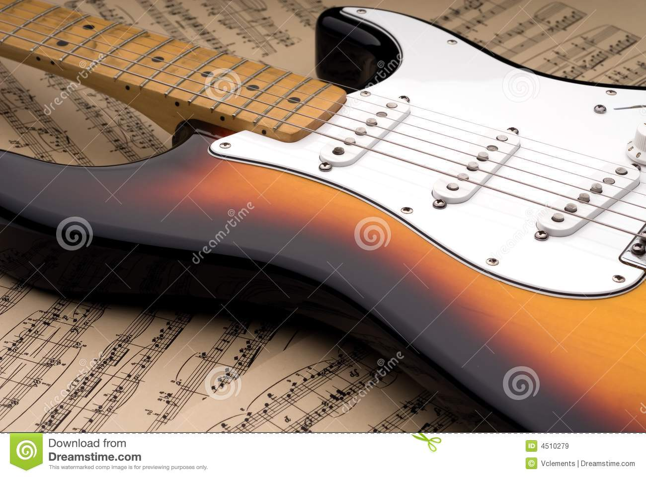Electric guitar and sheet music