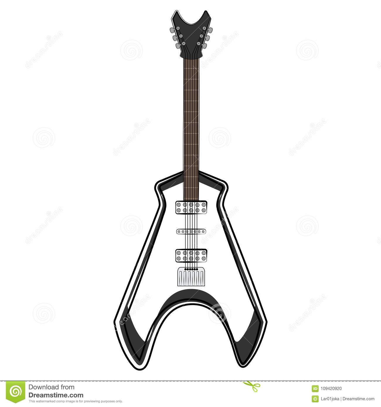 Electric Guitar Sketch Musical Instrument Stock Vector