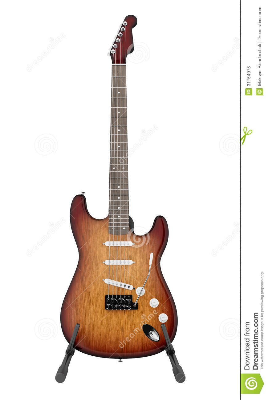 Electric Guitar On Stand Isolated On White Royalty Free
