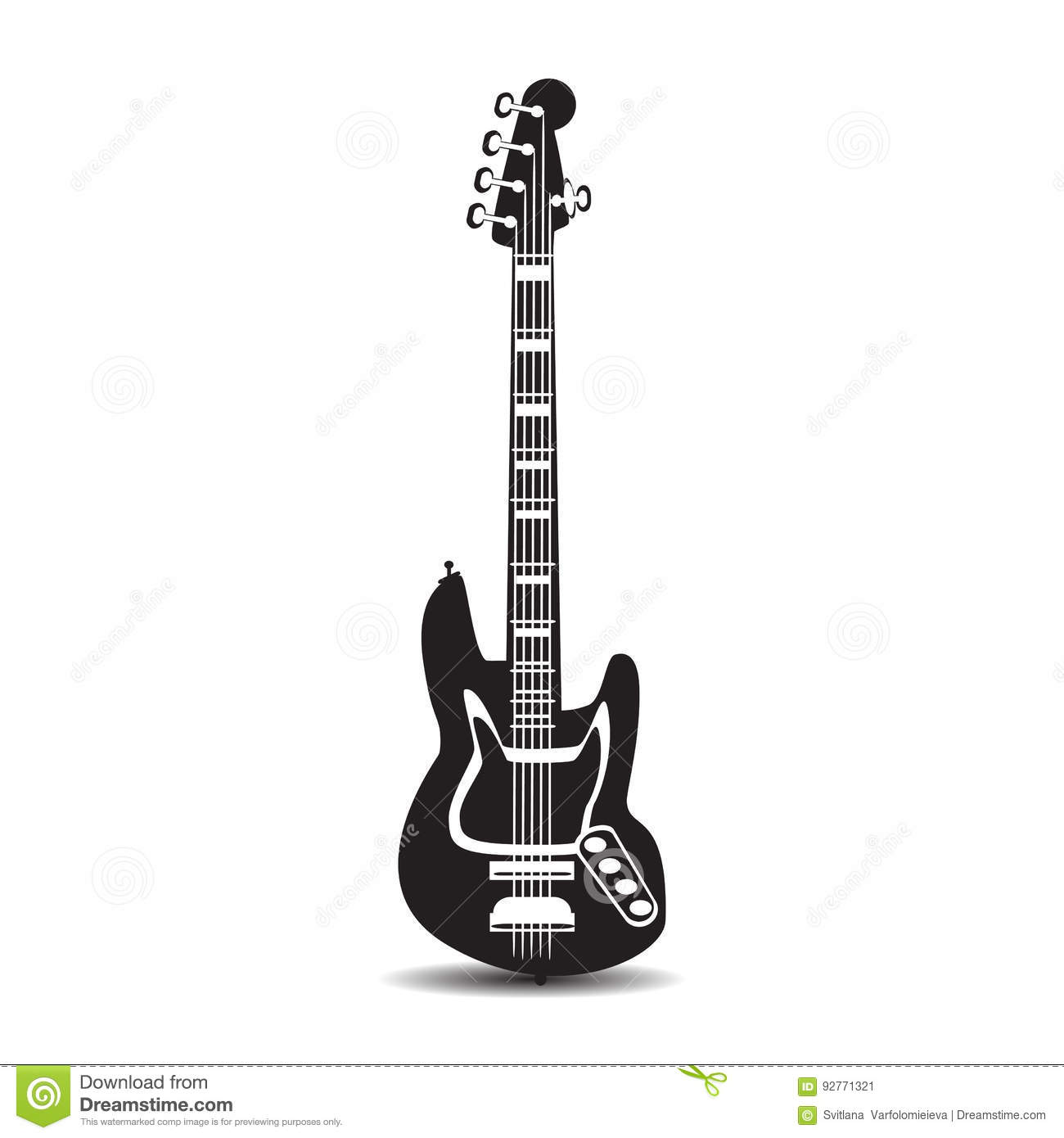 Electric guitar, vector illustration in flat style