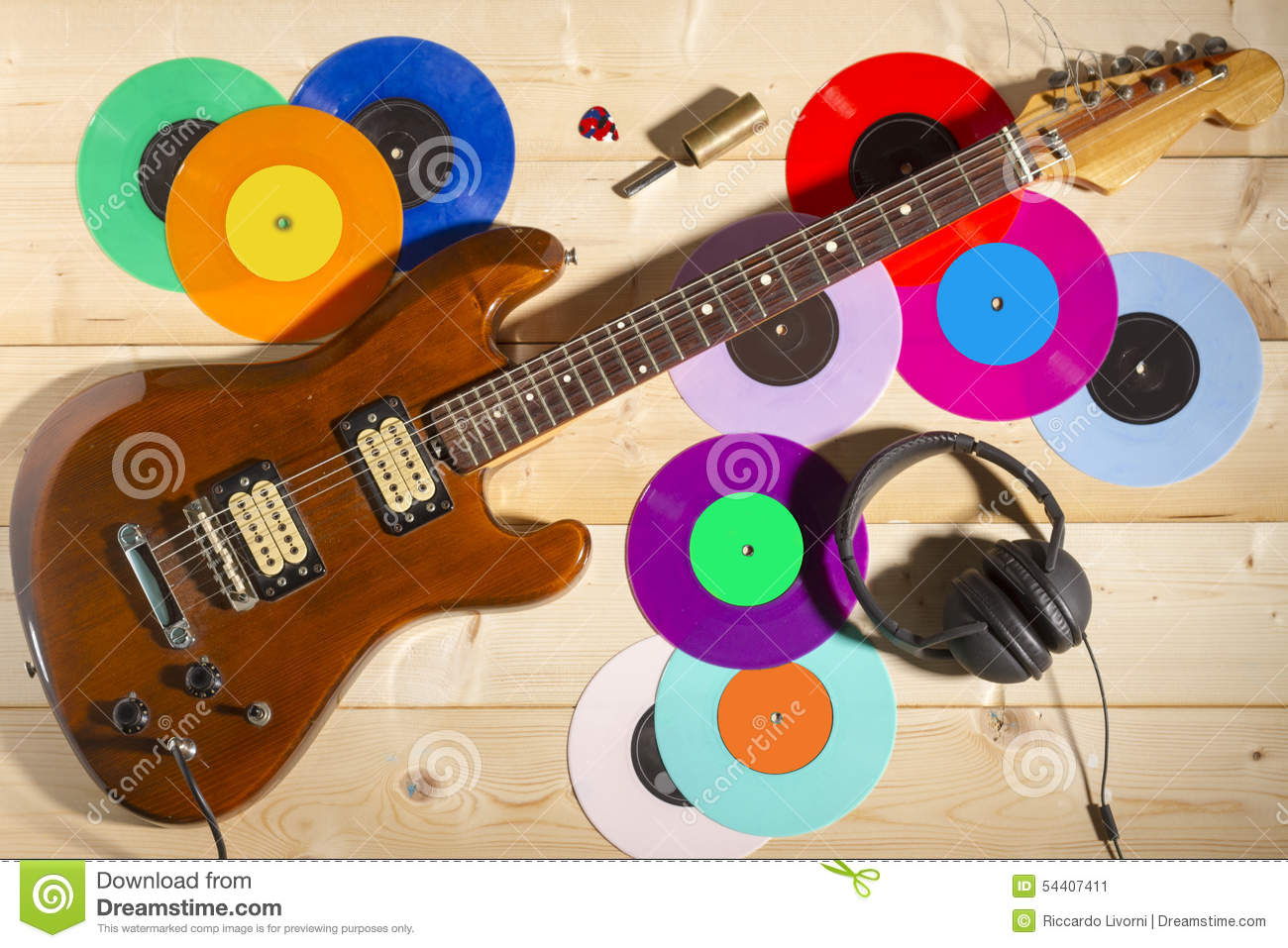 electric guitar 33 and 45 vinyl records and headphones stock image image of overhead. Black Bedroom Furniture Sets. Home Design Ideas