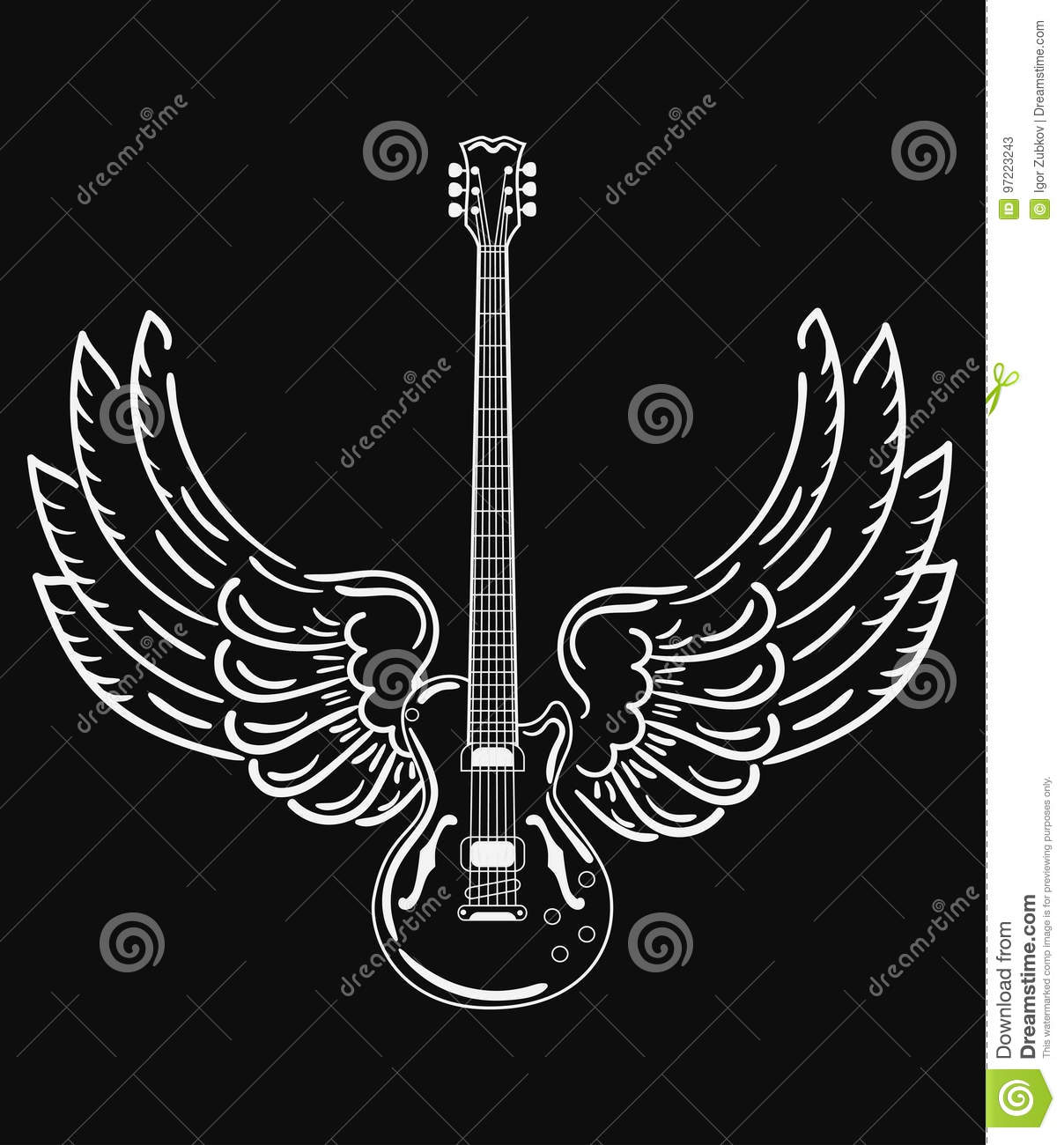 electric guitar with wings stylized electric guitar with angel wings black and white. Black Bedroom Furniture Sets. Home Design Ideas