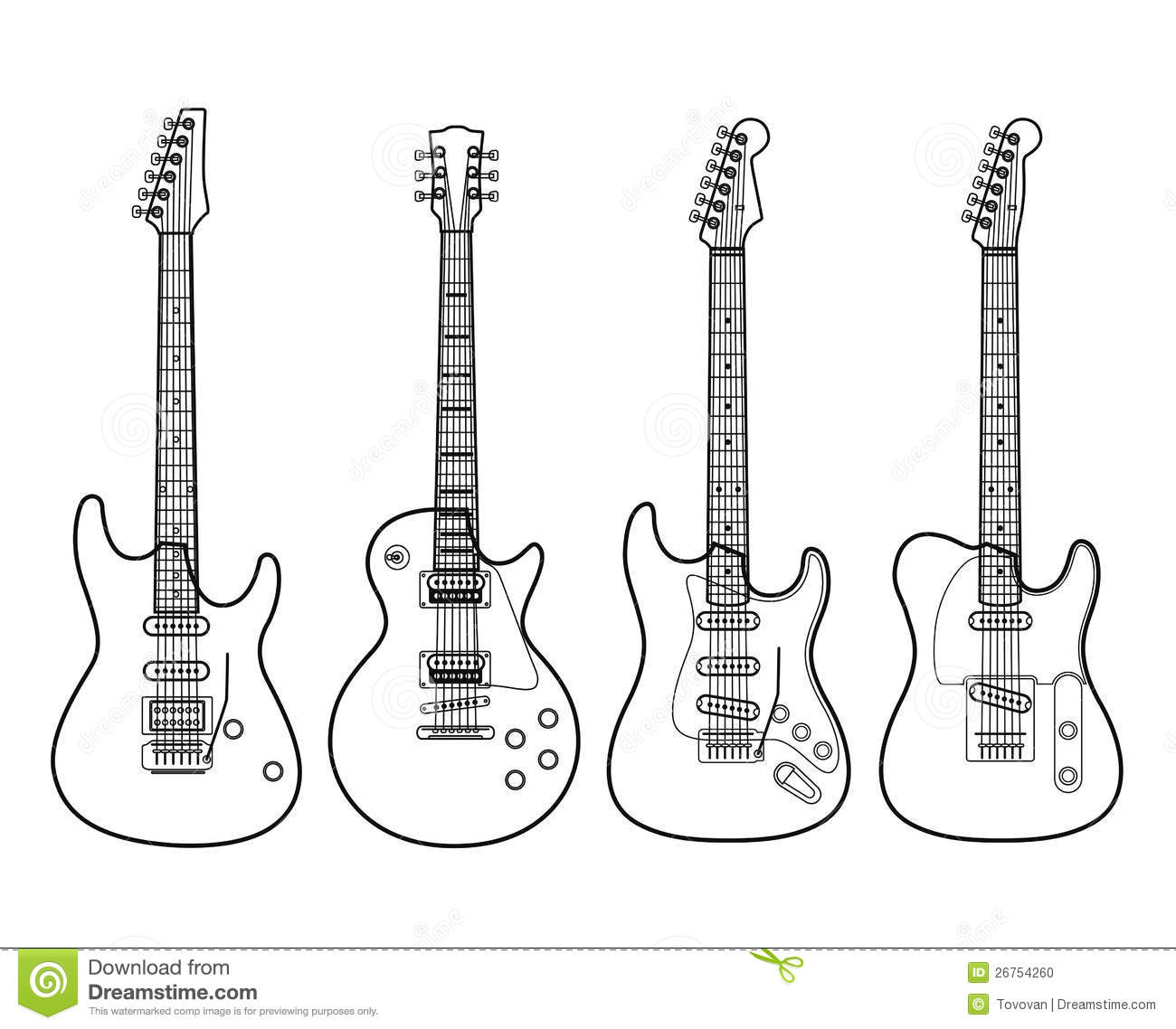 electric guitars isolated on white