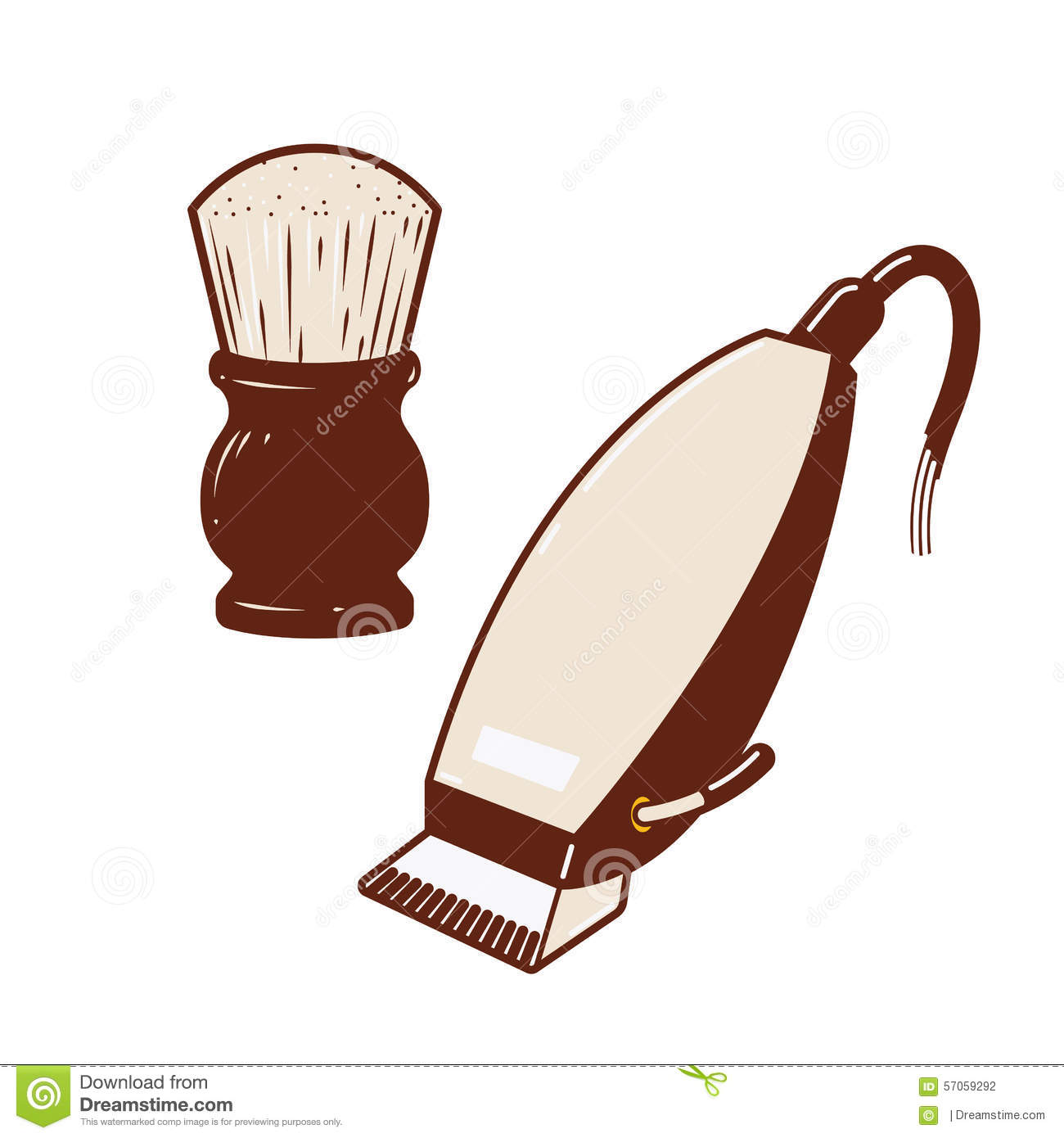 Electric Hair Clipper & Powder Brush Stock Vector - Image ...