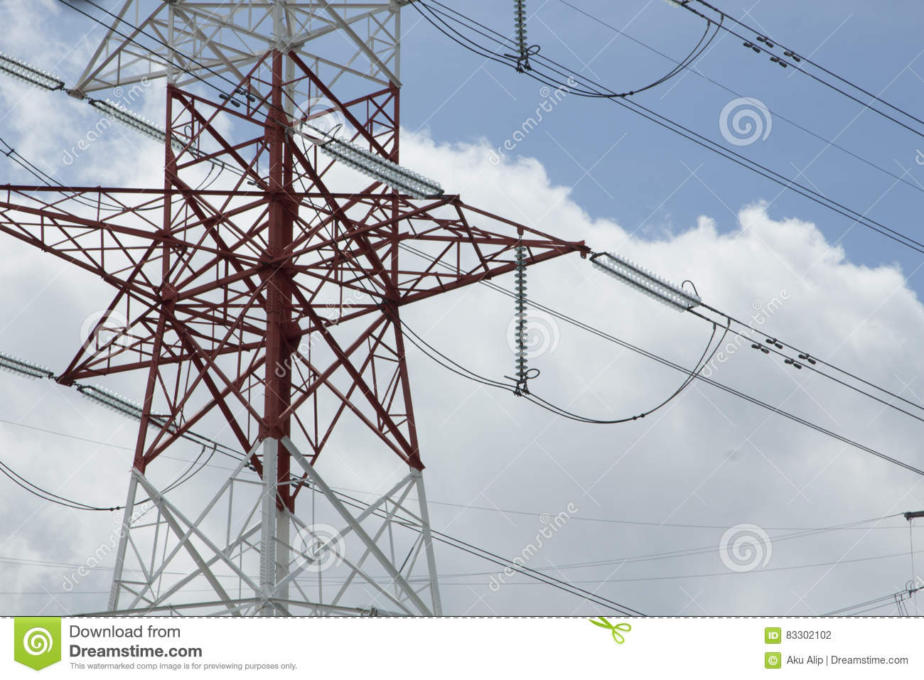 Electric High-voltage Power Transmission Towers Stock Photo - Image ...