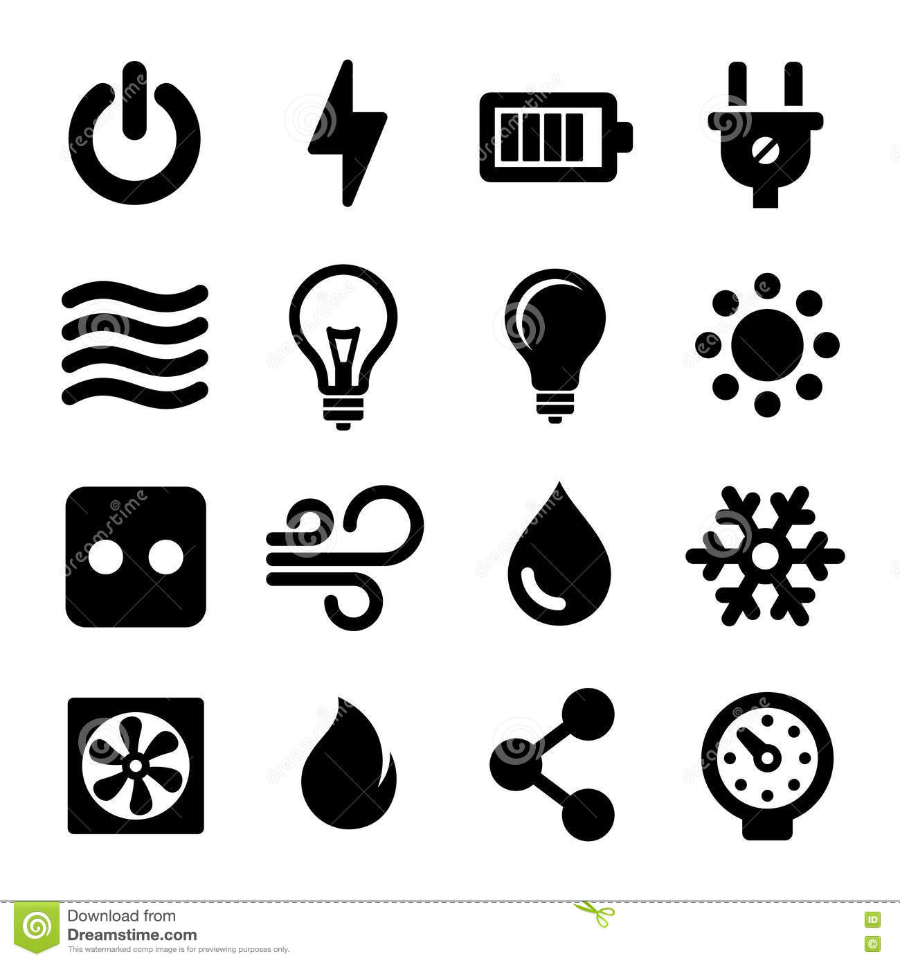 electric icons set stock vector  image of power  lamp