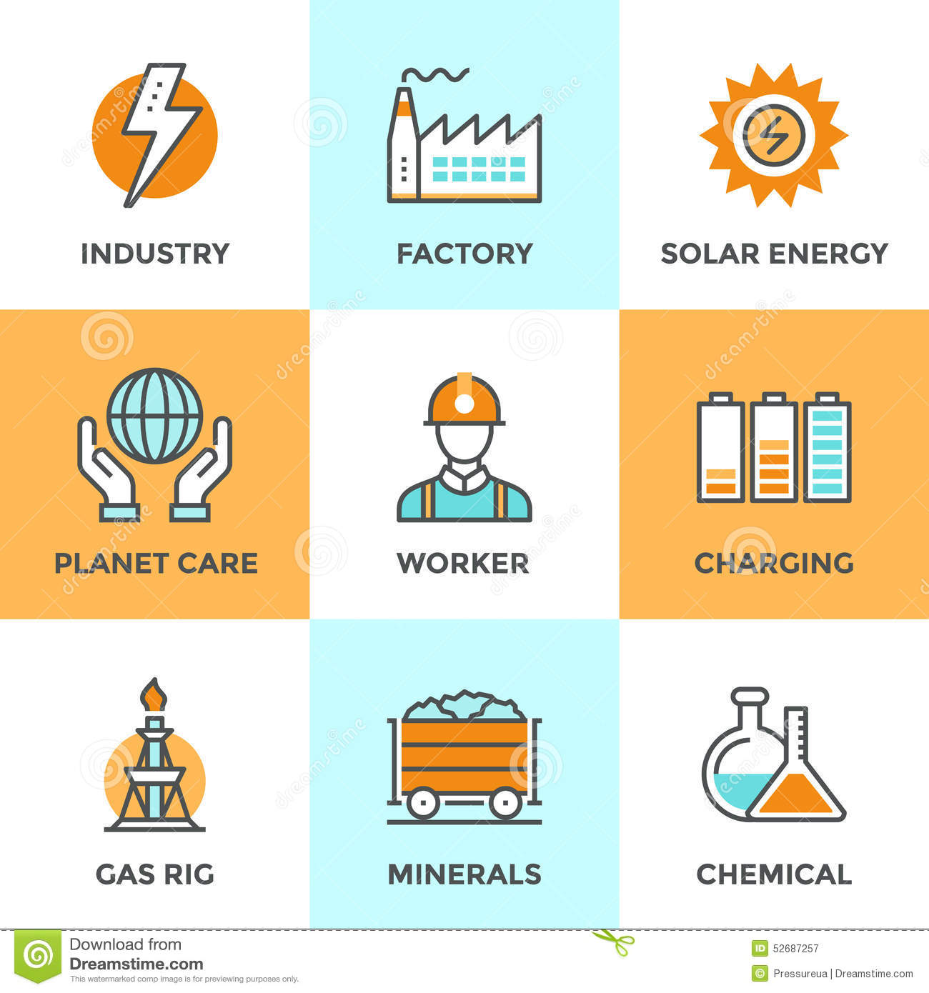 Electric industry line icons set