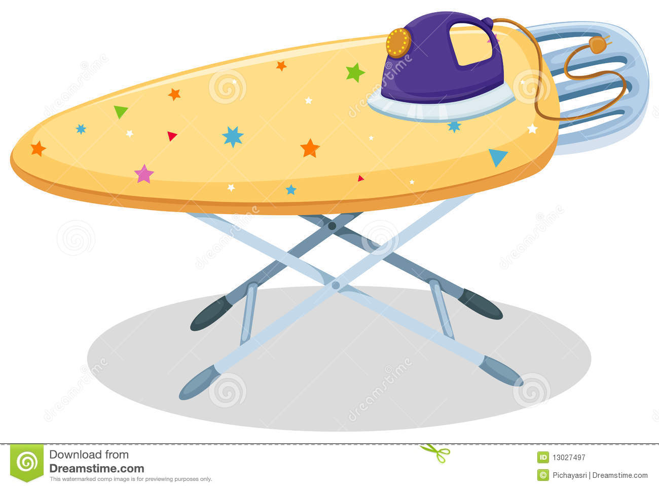 Iron and Ironing Board Clip Art