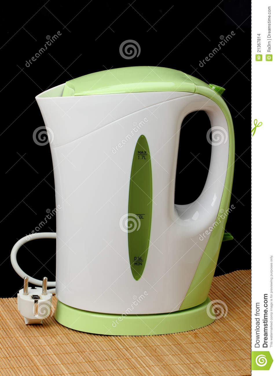 Electric kettle on black