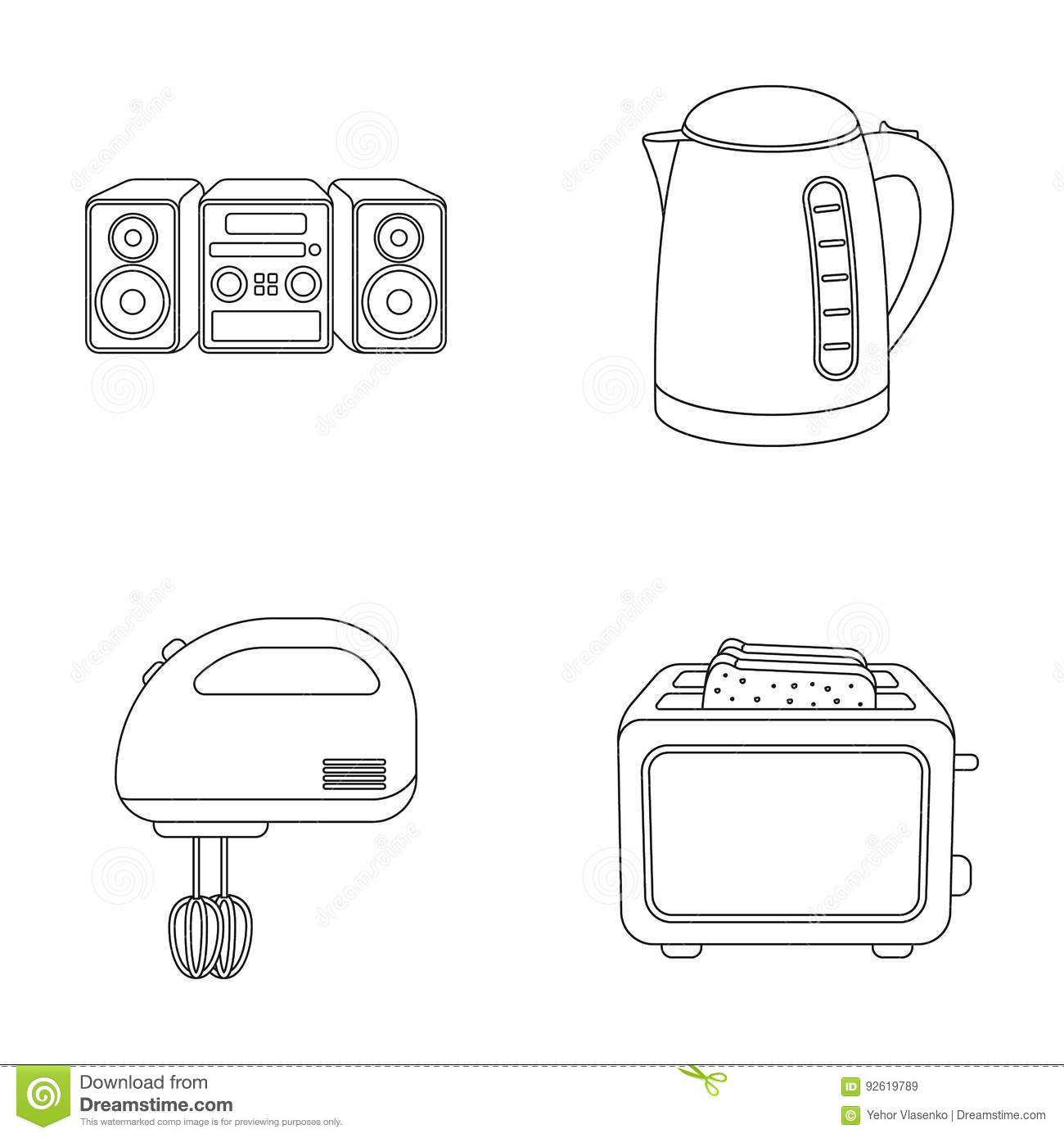 Electric Mixer Outline ~ Kettle cartoons illustrations vector stock images