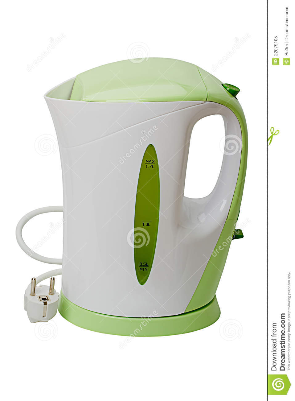 Electric kettle on white