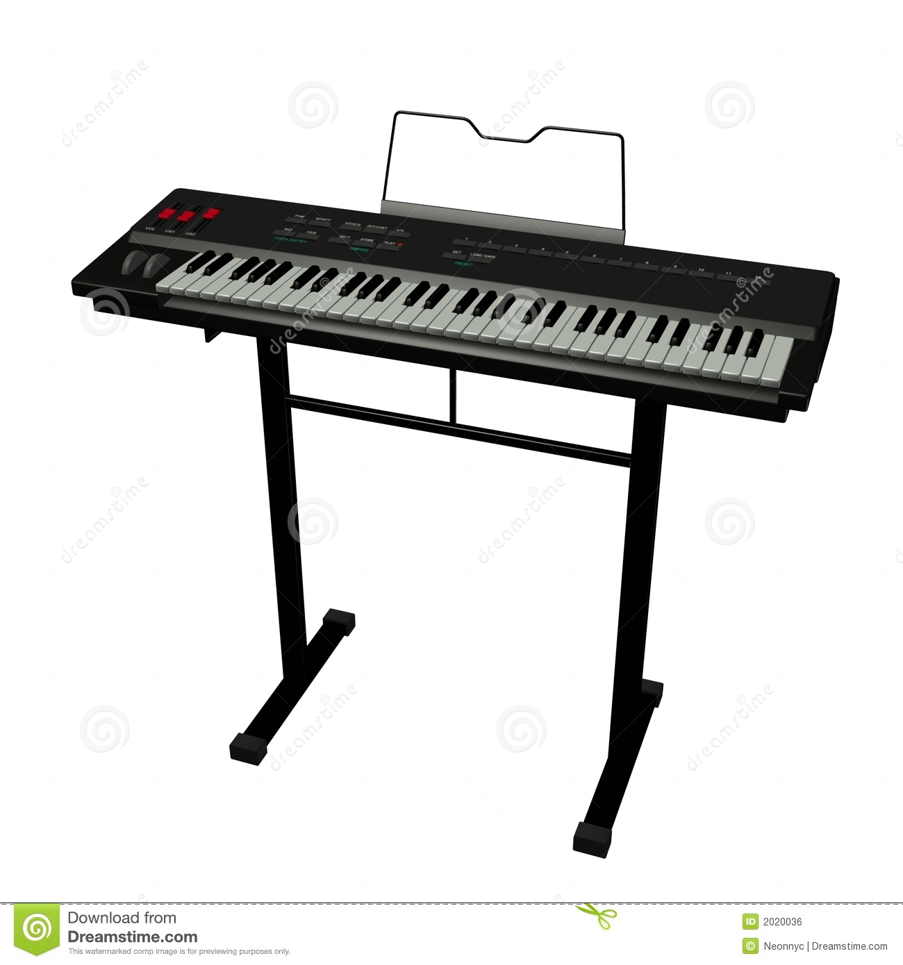 Digital illustration of electric keyboard/midi against a white ...
