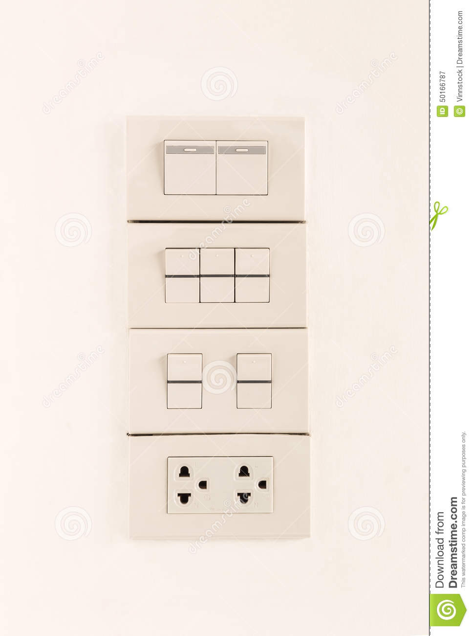 Electric Light Switches In Of Position And Sockets Stock Image ... for Light Switch Off Position  186ref