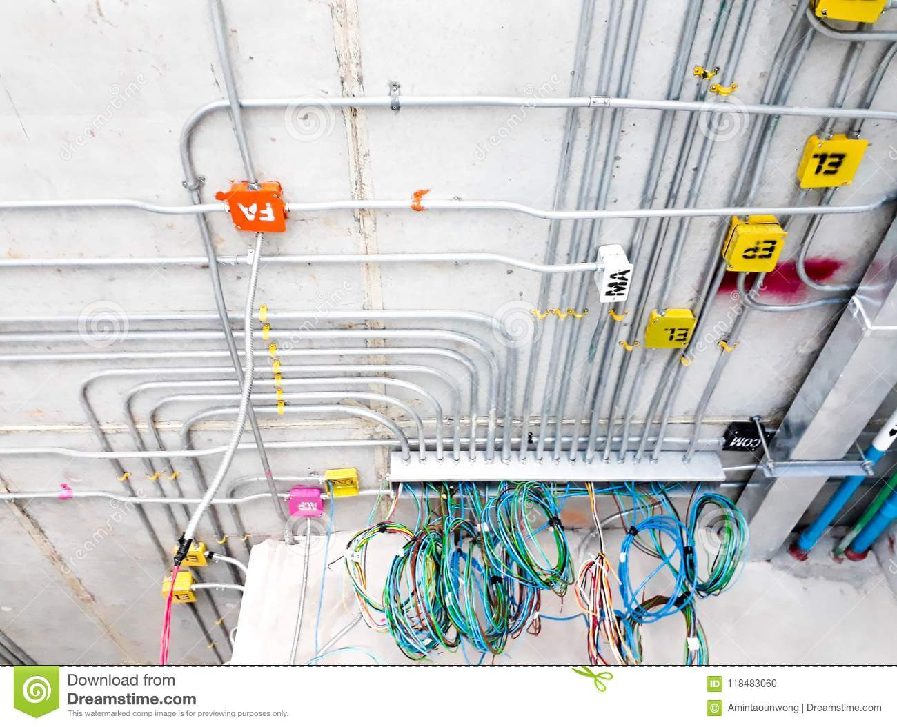 Electric Lines Power And Label On The Ceiling Stock Photo Image Of Electrical Wiring Pipes