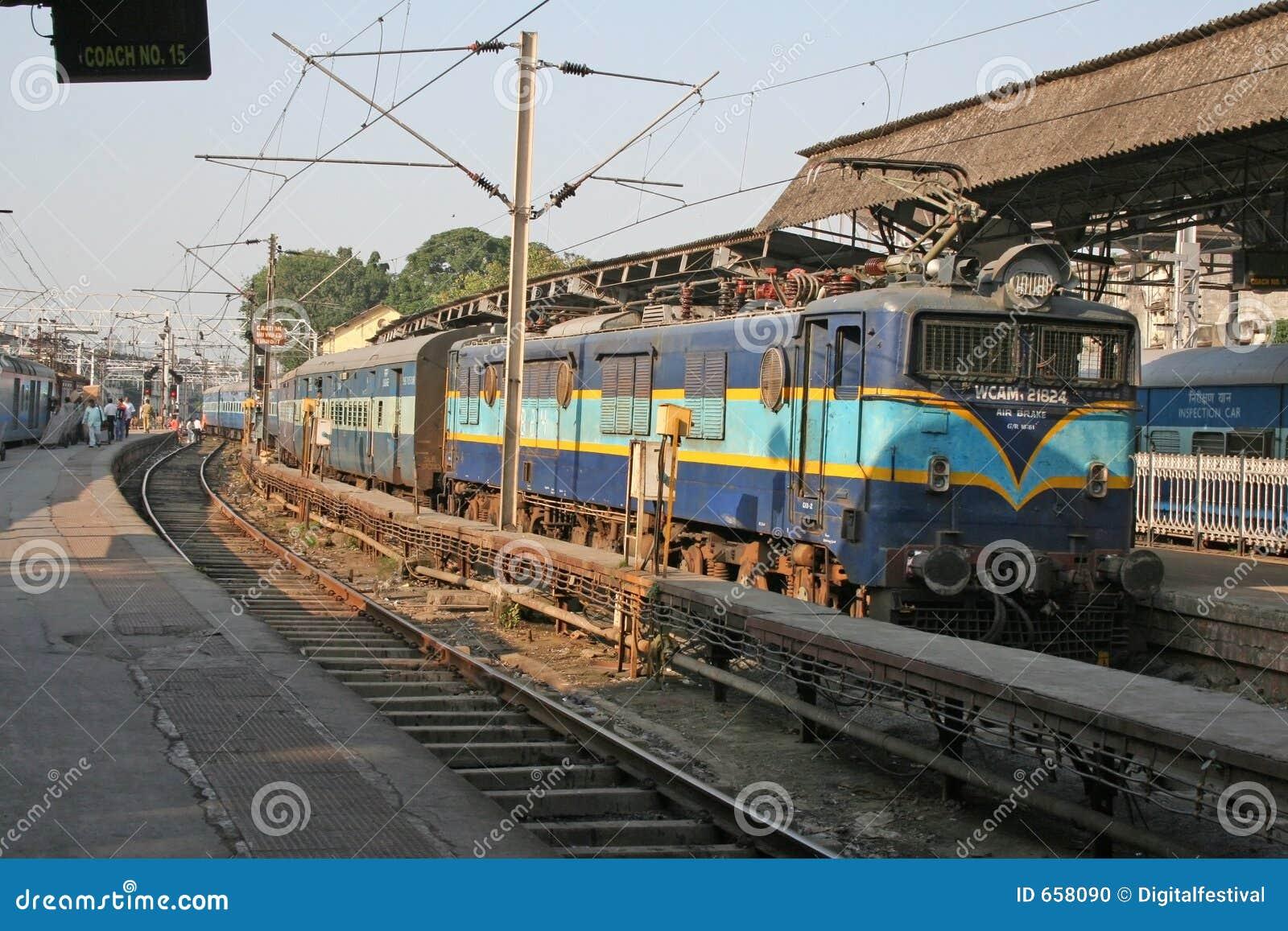 Electric Locomotive Engine And Railroad Train Stock Photo