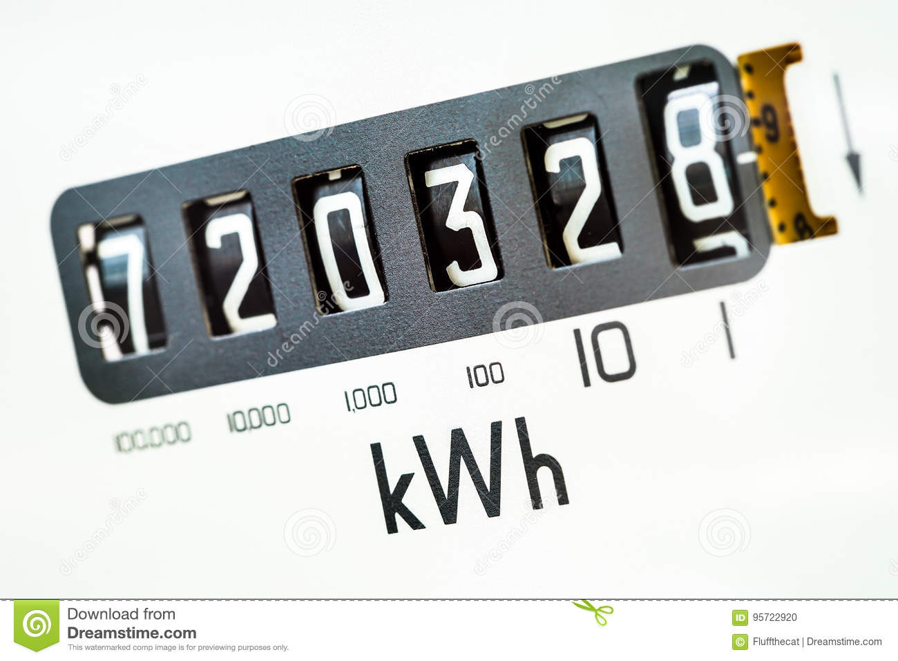 Electric meter close-up stock photo. Image of energy - 95722920