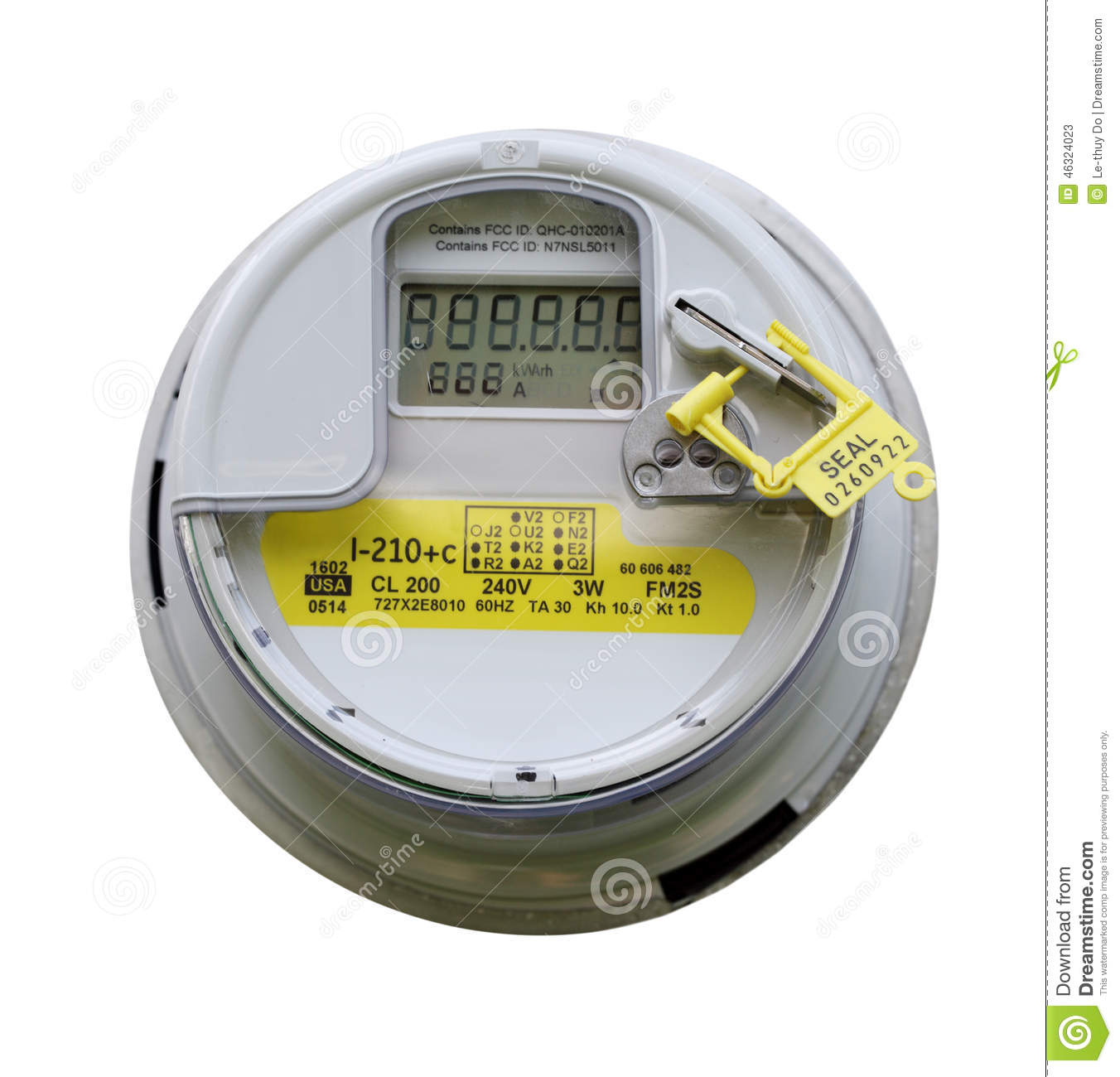 Multifunction Meter Front View : Electric meter stock photo image
