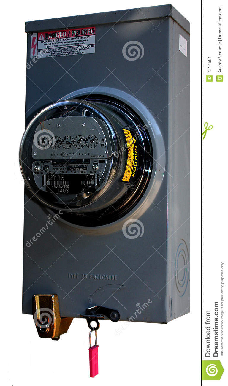Electric Meter Cans Sign : Electric meter with lock stock image of power