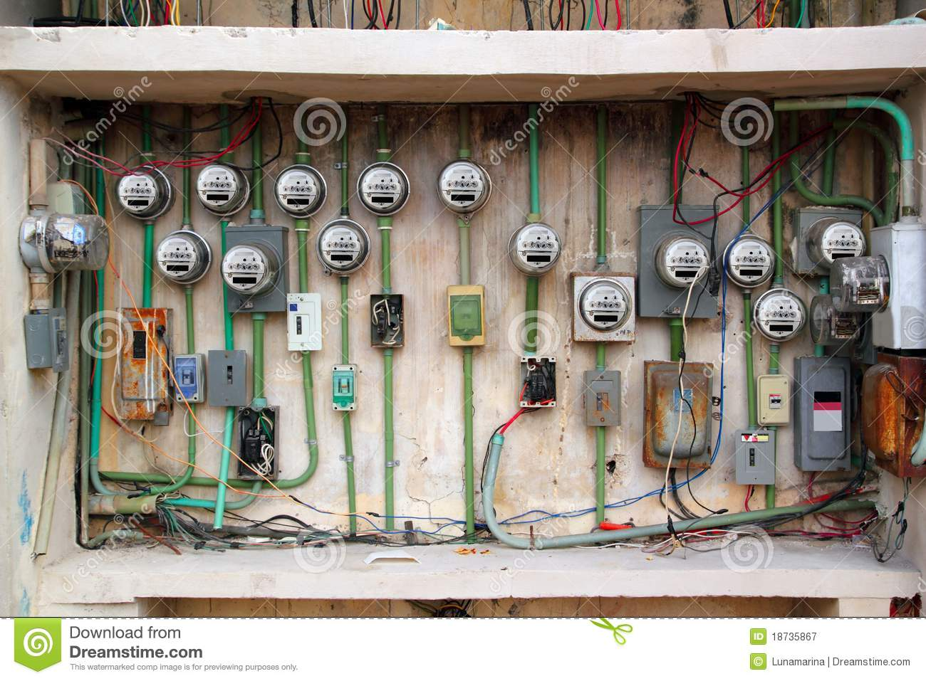 Install Utility Meters : Electric meter messy electrical installation stock image