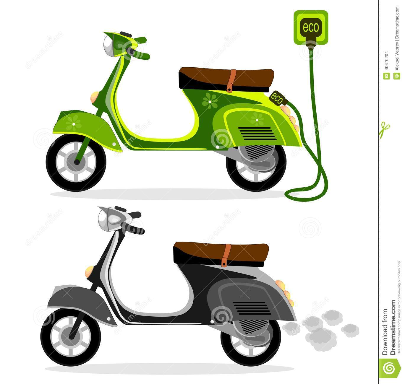 electric moped and a scooter motorcycle on a white. Black Bedroom Furniture Sets. Home Design Ideas