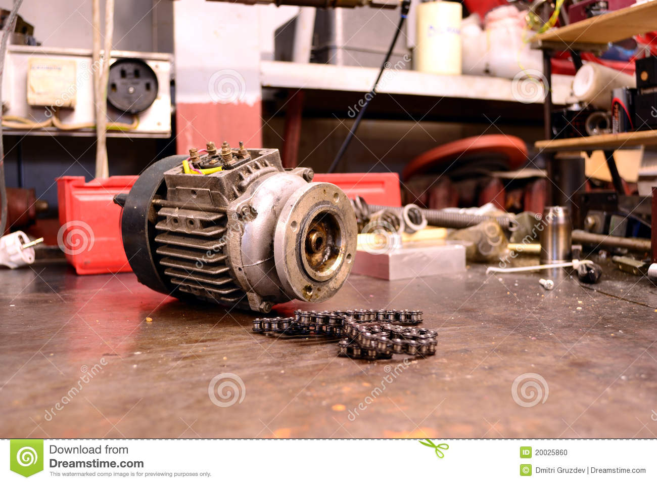 Electric Motor And Chain Stock Photo Image 20025860
