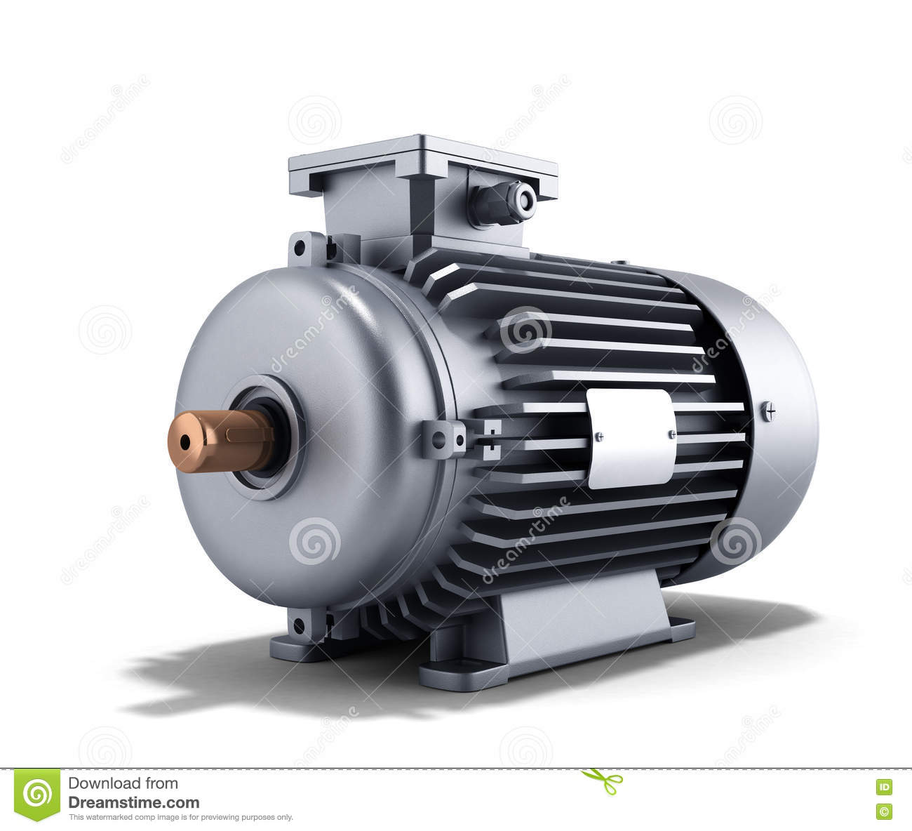 Electric motor generator 3d illustration on a white for Picture of electric motor