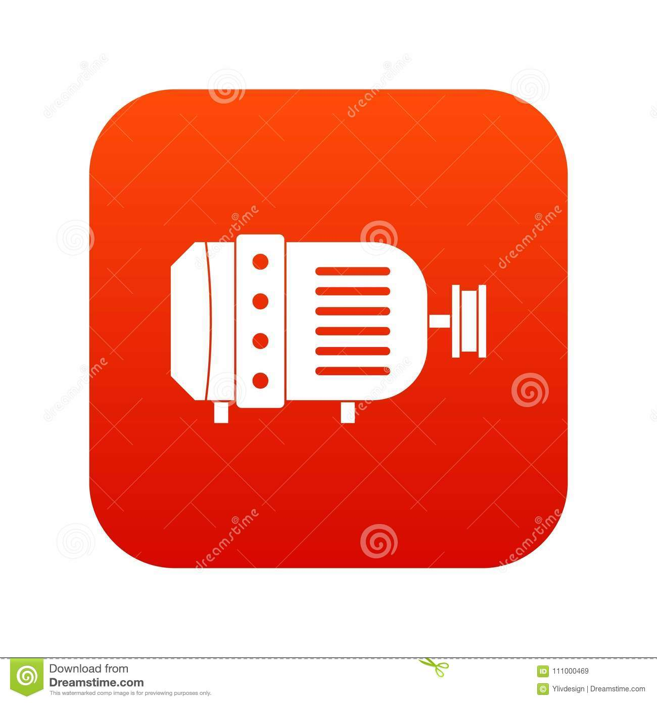 Electric Motor Icon Digital Red Stock Vector Illustration Of