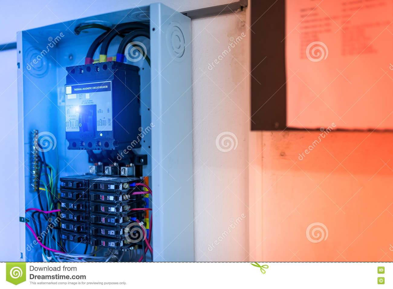 Electric Outdoor Fuse Box In Soft Light Stock Image