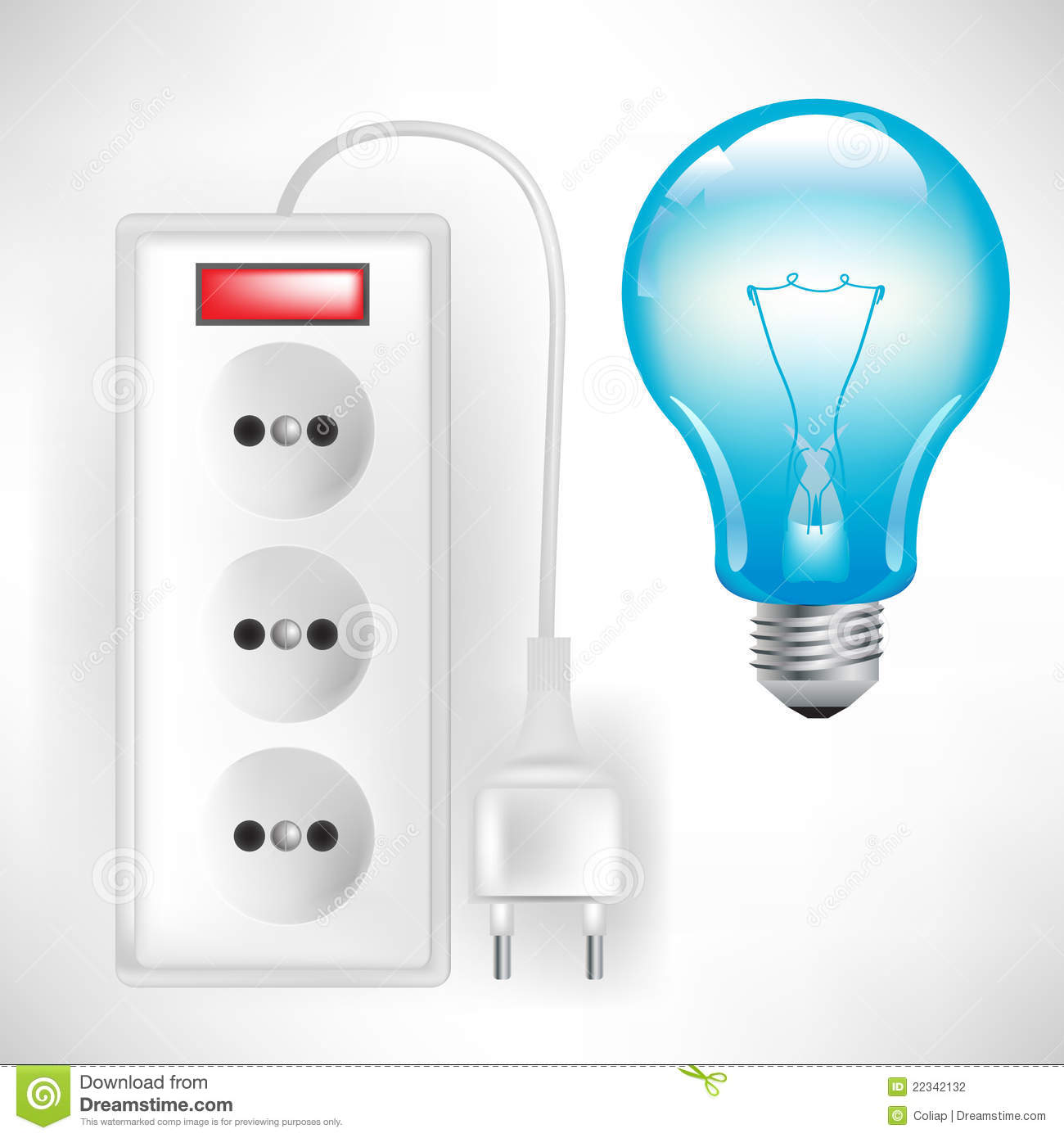 electric outlet with cable and light bulb stock